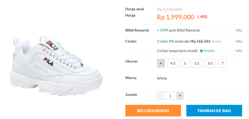 76ec8b3ef44f Pilihan Tipe Sepatu Fila Original di Blibli - Hilman